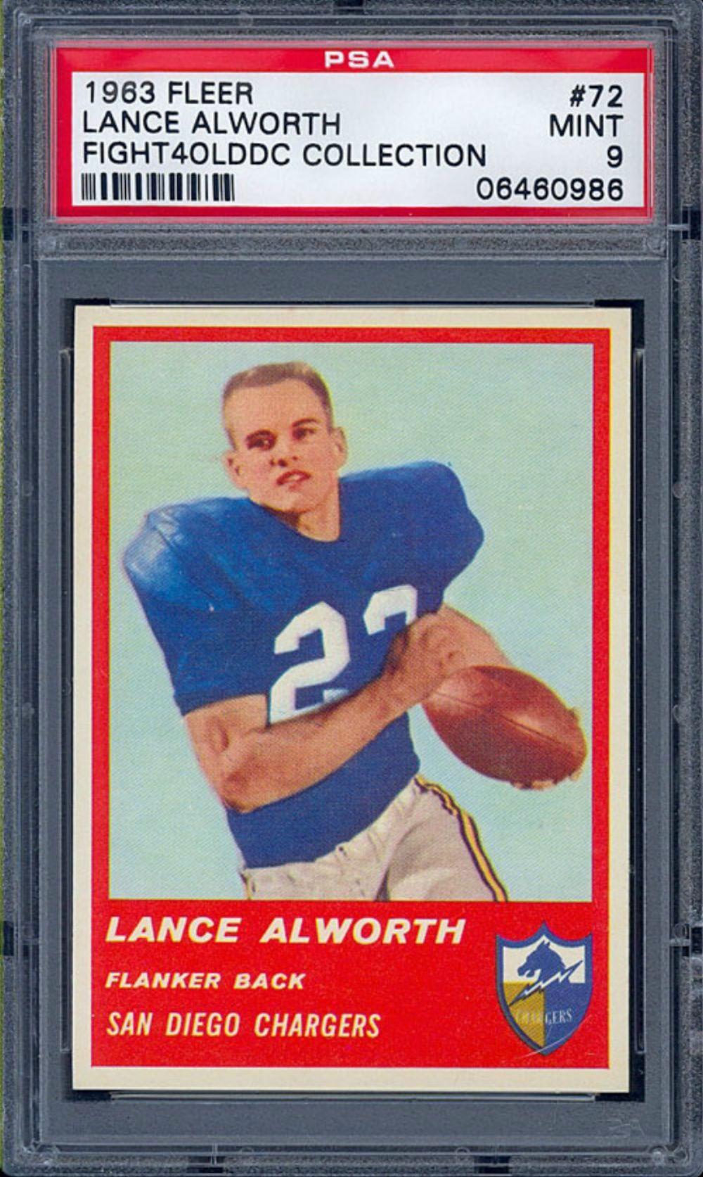 '63 Fleer Lance Alworth Rookie Card San diego chargers