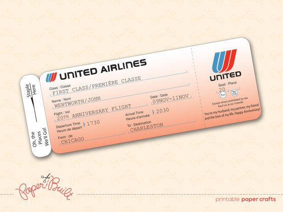 Printable united airlines style airline ticket boarding for Flight ticket template gift