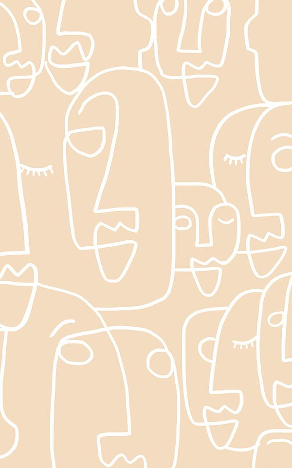 Large Nude Face Line Drawing Wallpaper Mural
