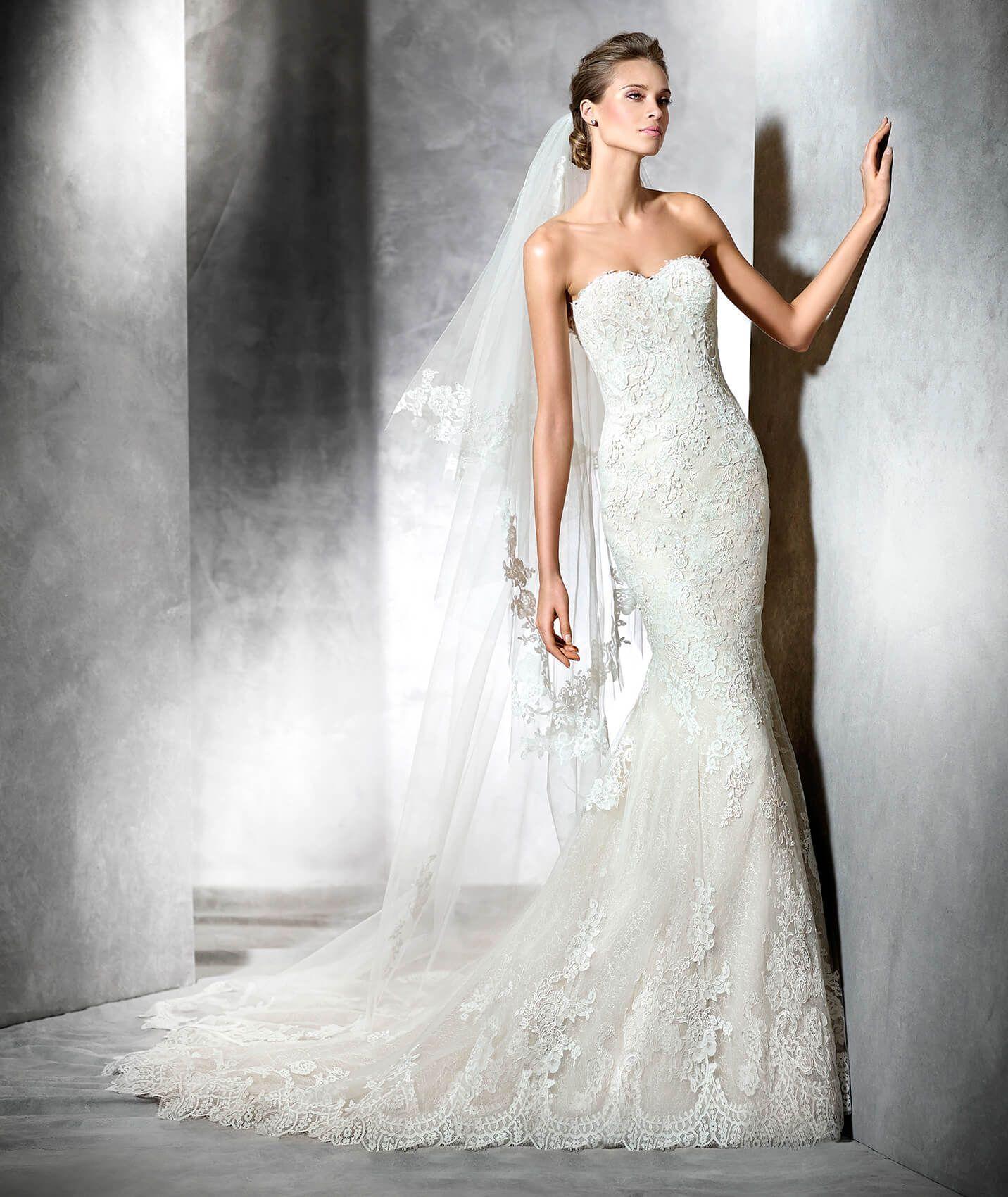 PRINCIA - Vestido de novia de tul estilo sirena con escote corazón