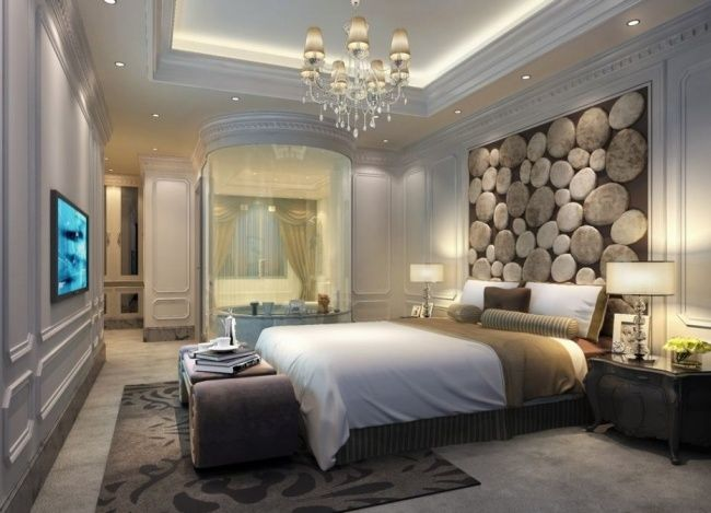 schlafzimmer ideen wandgestaltung getäfelte wand steinoptik ...