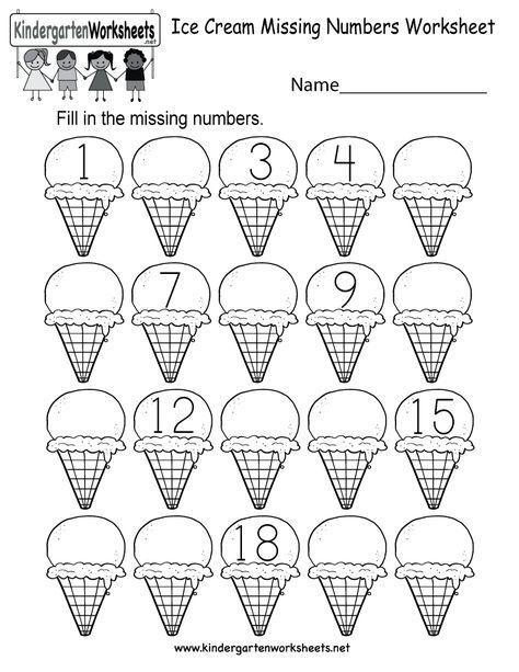 Ice Cream Missing Numbers Worksheet Online Kindergarten Summer Worksheets Free Kindergarten Worksheets Numbers Kindergarten Missing number worksheets kindergarten