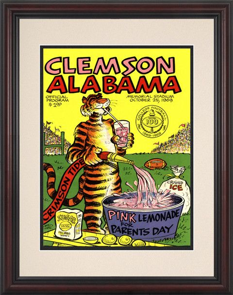 1969 Clemson Tigers vs Alabama Crimson Tide 8 1/2 x 11 Framed Historic Football Poster