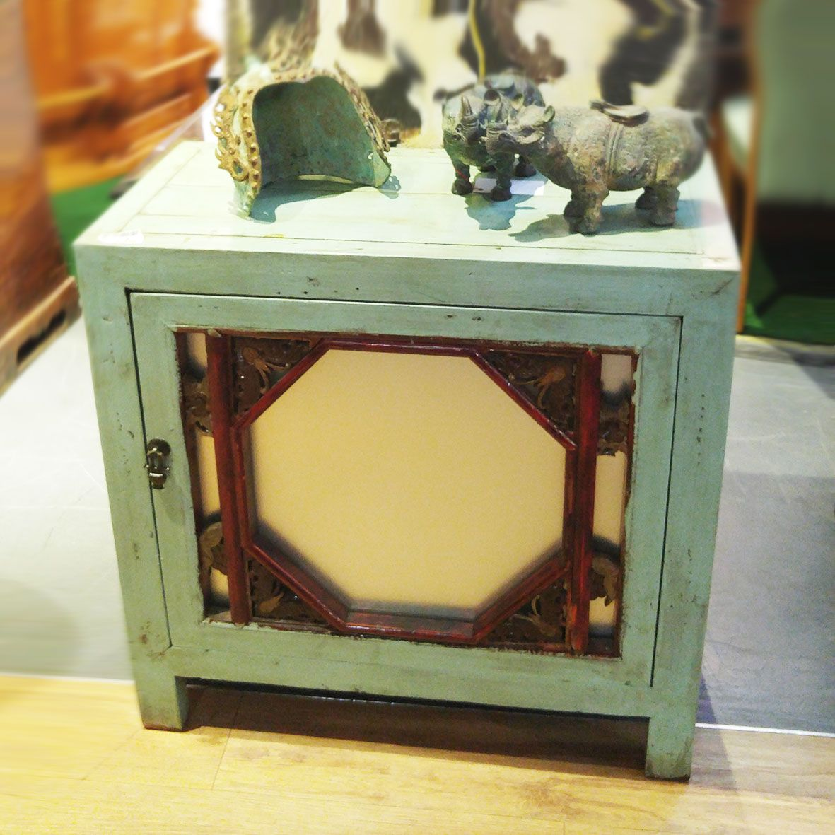 Green Washed Vintage Oriental Cabinet. Available Exclusively At Red Sega  Seeds Singapore.