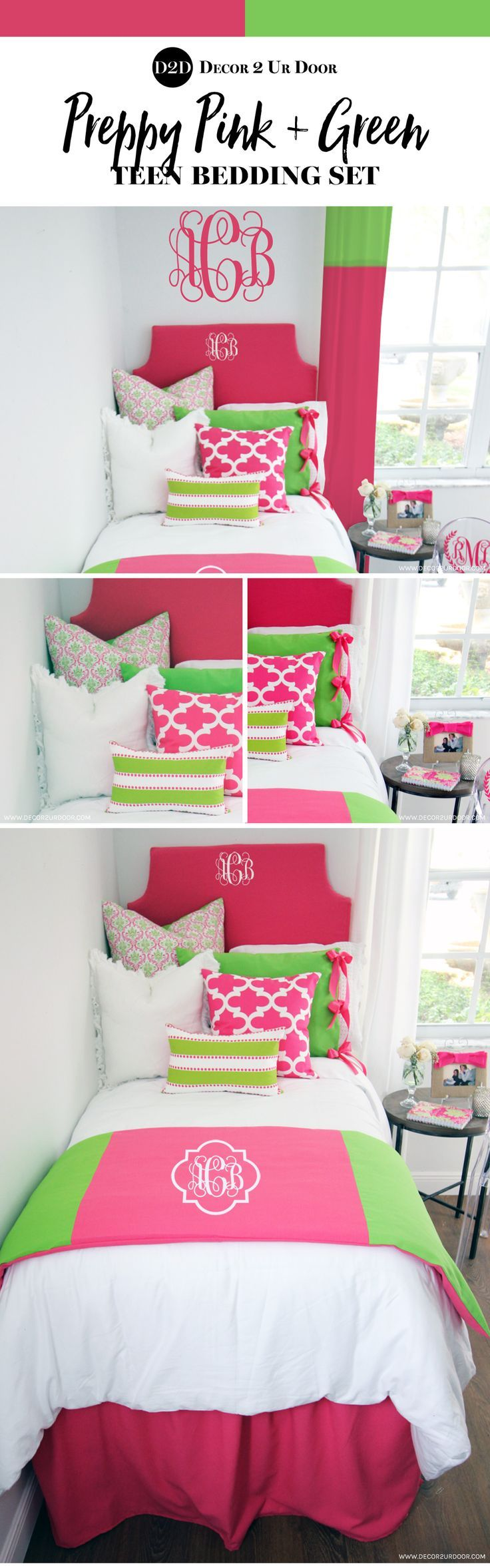 exciting teen girl bedroom green | New Preppy Pink & Green Designer Teen Girls Bedding ...