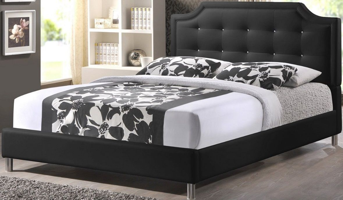Baxton Studio Carlotta Modern Bed Upholstered Headboard Black