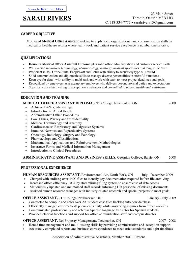 front office medical assistant resume receptionist example sample objectives