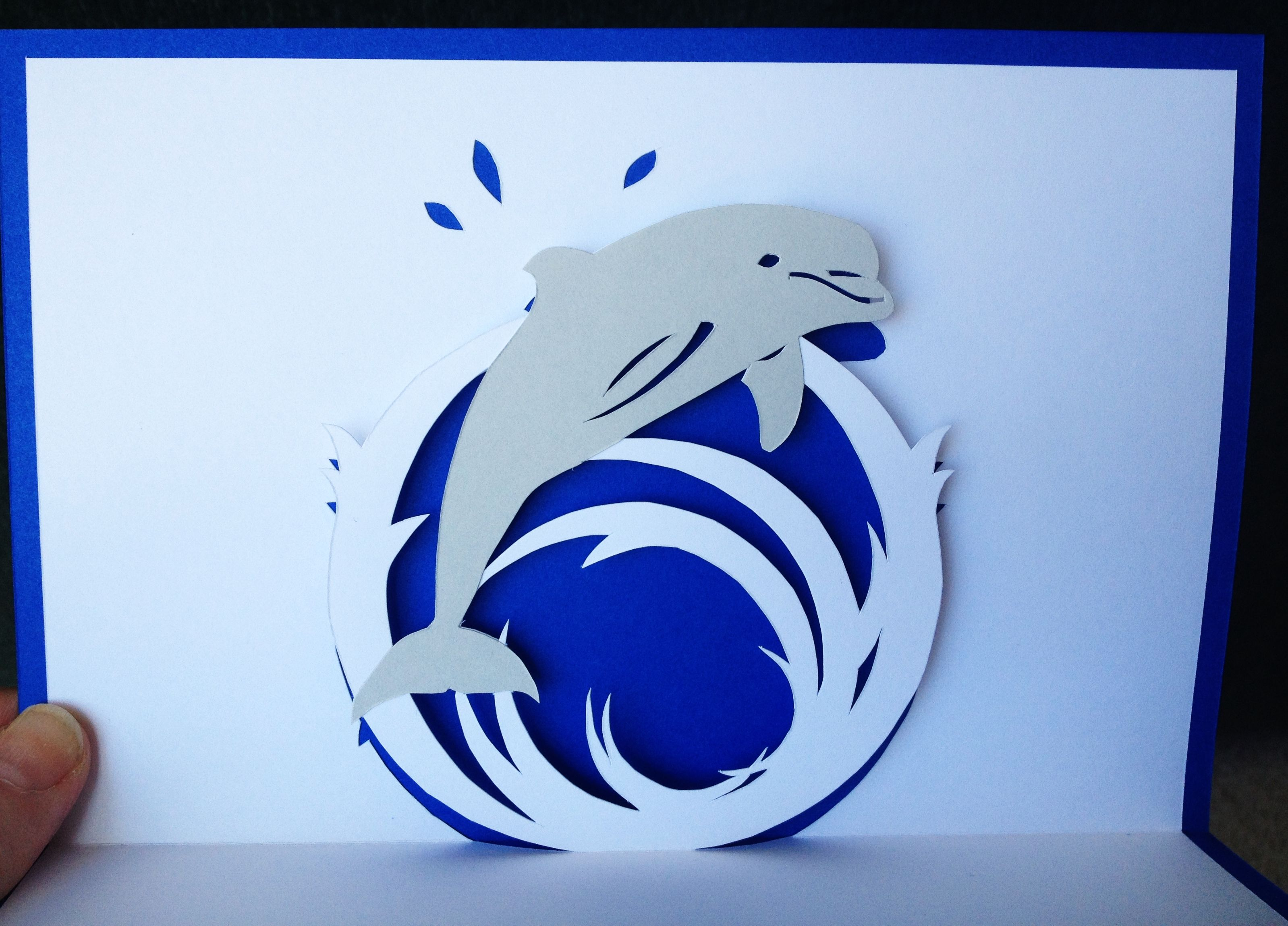 Jumping Dolphin Pop Up Card Template From Cahier De Kirigami No 2 Pop Up Card Templates Cards Handmade Pop Up Cards
