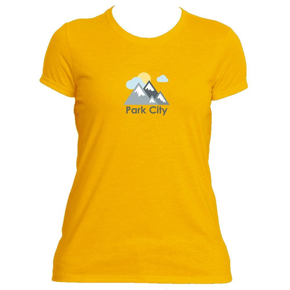 Park City, Utah Mountains and Clouds in Color - Women's Moisture Wicking T-Shirt