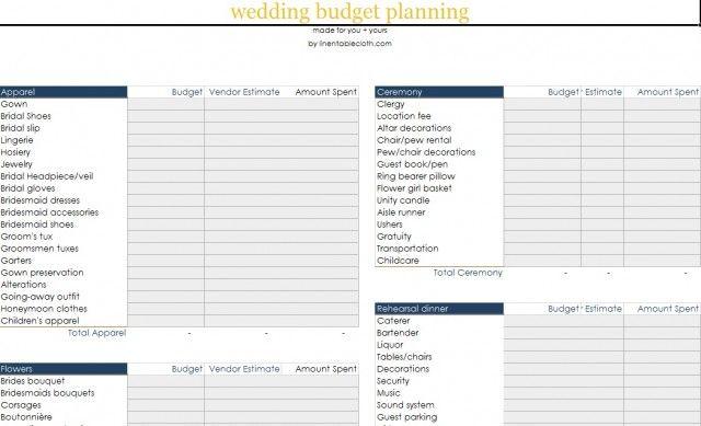 DIY Wedding Budget Worksheet wedding Pinterest Diy wedding