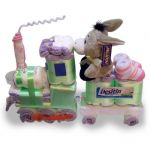 Train - Neutral baby shower diaper cakes like I've never seen!