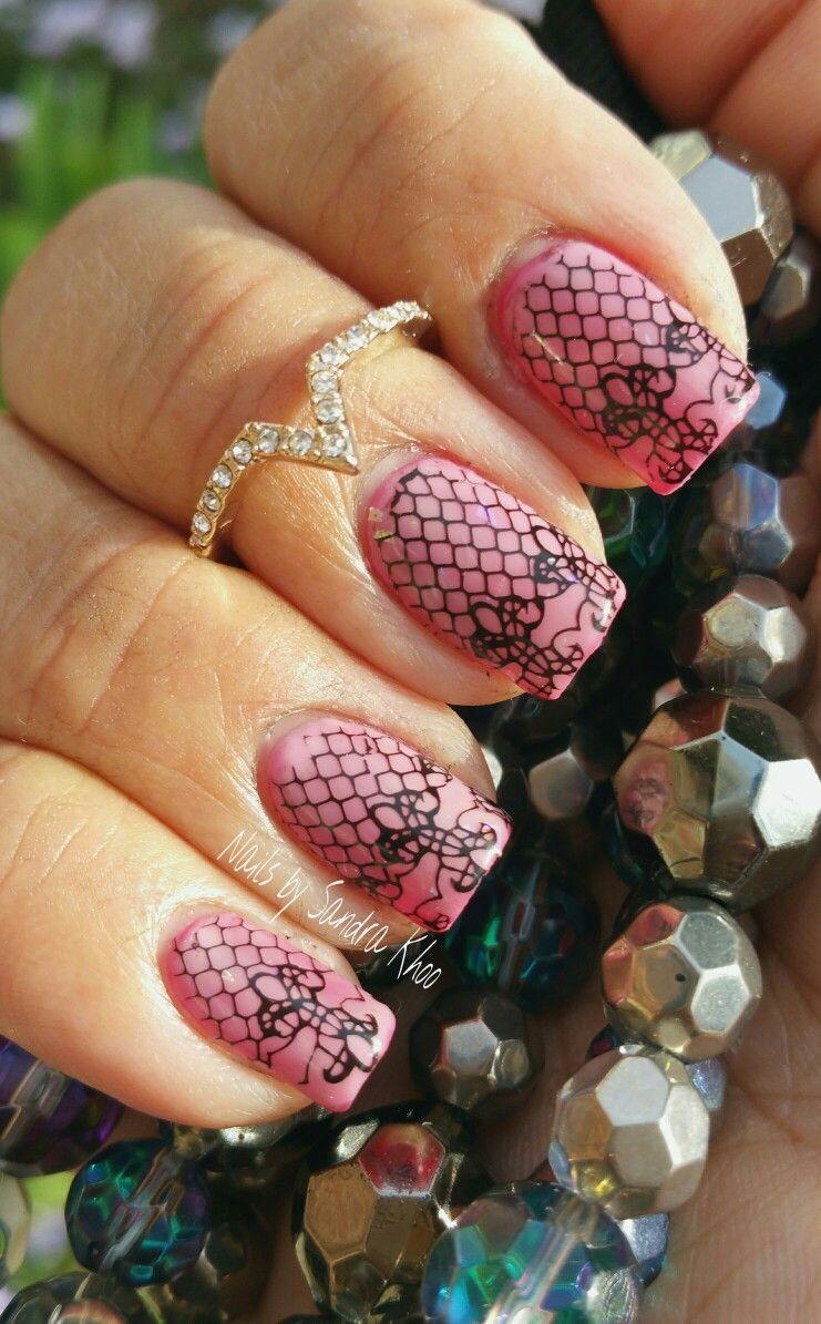 Pink Lace Manicure