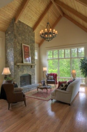 Great Room Additions Home Design Ideas Pictures Remodel And Decor: Bay Window Living Room, Family Room, Cabin Living Room