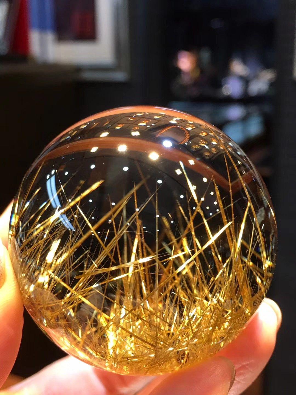 天然钛晶价格_价格 RMB58000元 超美天然钛晶球🔥🔥晶体干净~颜色金黄~板钛 ...