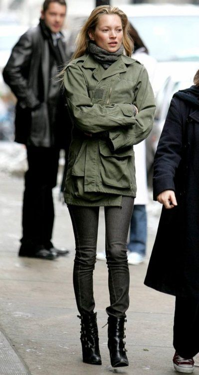 Kate Moss faded black jeans, army jacket