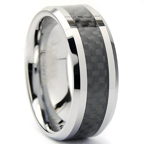 Jewels By Lux Tungsten Two-Tone Checkered Inlay Mens Comfort-fit 8mm Wedding Anniversary Band.