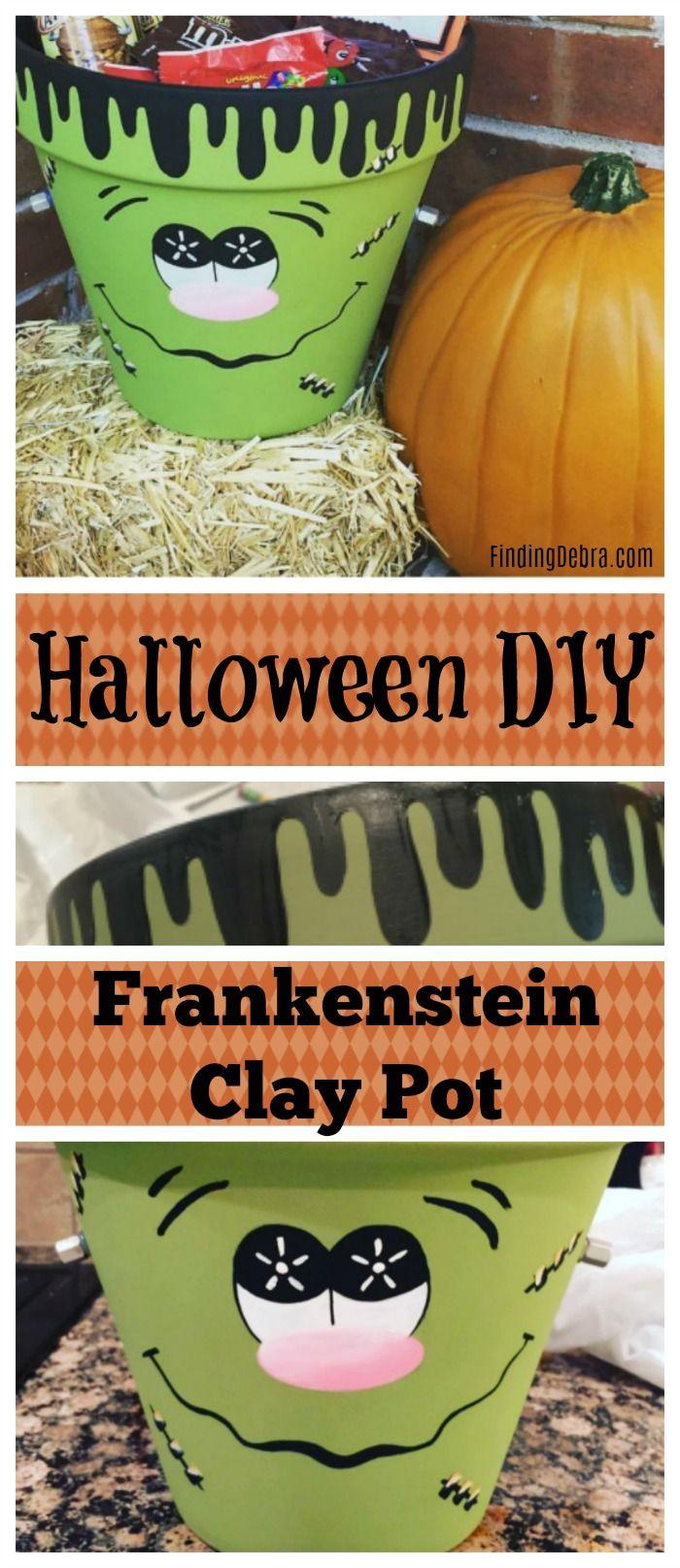 Halloween DIY Frankenstein Clay Pot For Treats, Booing your neighbor - cute homemade halloween decorations