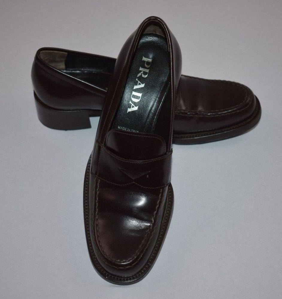 34a6a5920ae Prada Women s Brown Patent Leather Slip-on Penny Loafers Size 36½ EU   6 US   Prada  Loafers