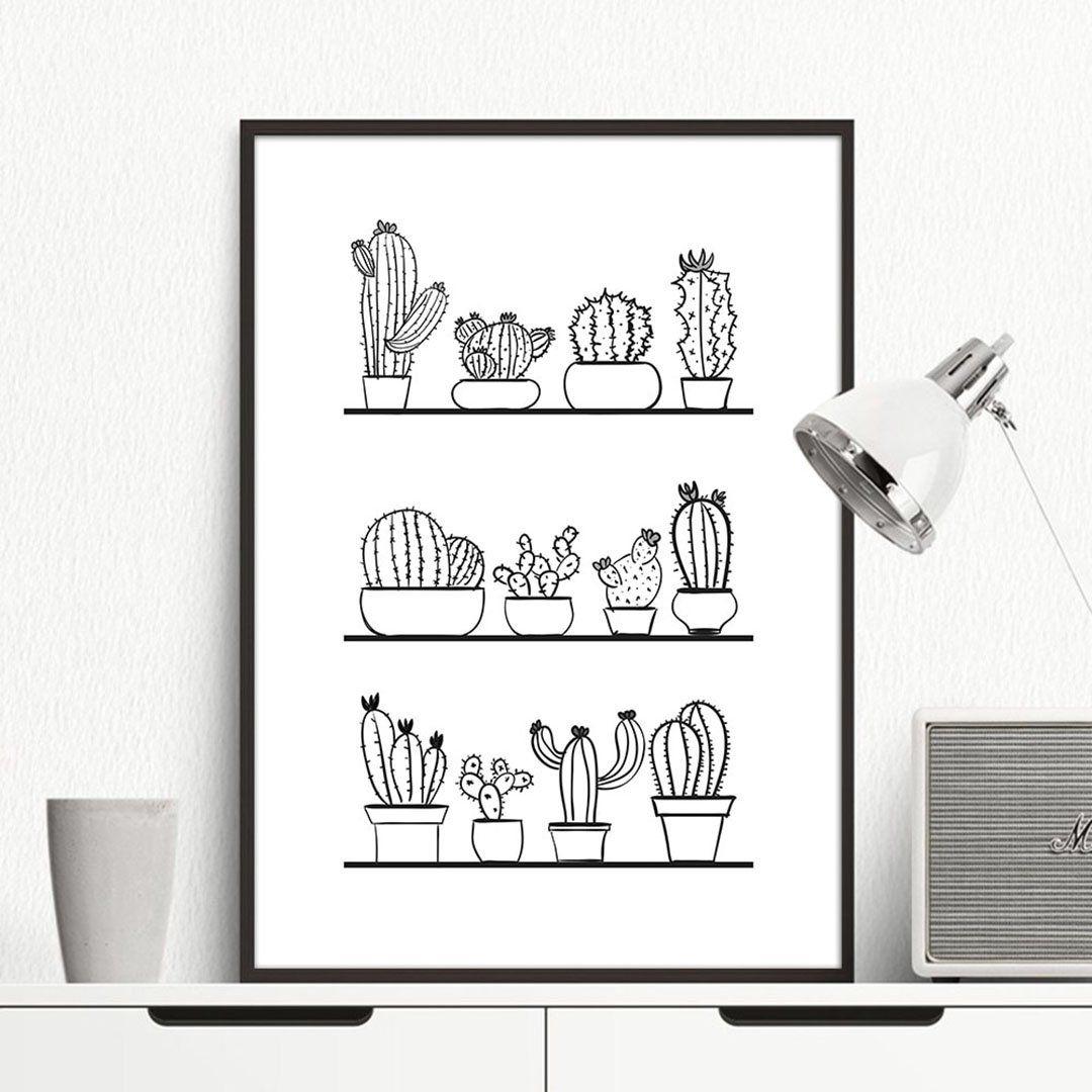 Cactus Plants Minimalist Canvas Poster -   14 minimalist planting Art ideas