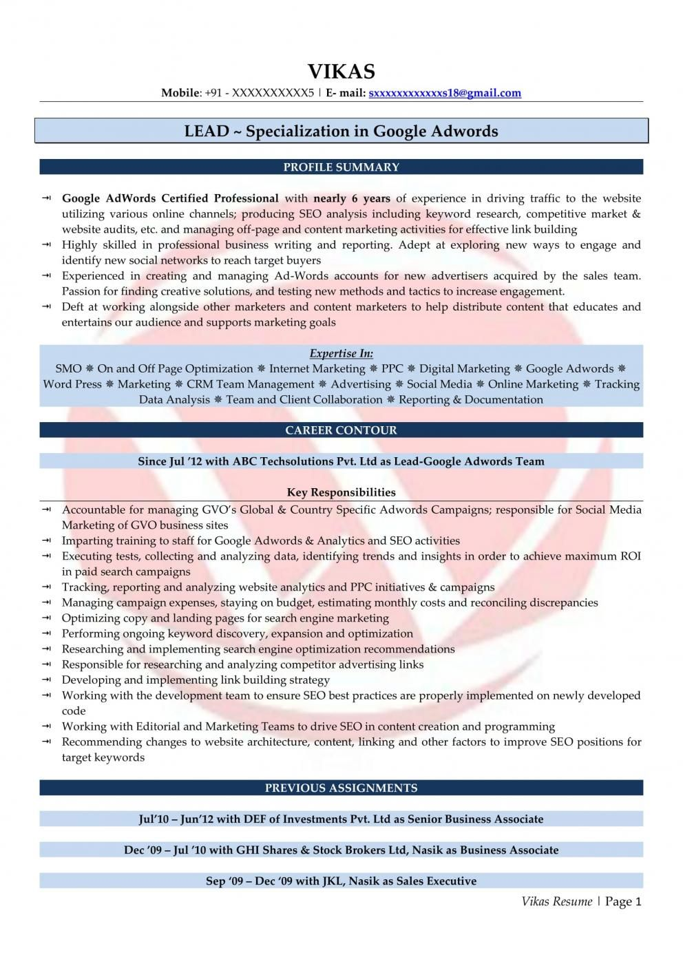 Resume Samples For Digital Marketing Fresher Marketing Resume First Web Page Best Resume