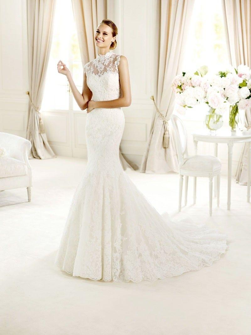 Classic Trumpet High Neckline Chapel Train Tulle Lace Wedding Dress Lace Fishtail Wedding Dress High Neck Wedding Dress Wedding Dresses Lace [ 1067 x 800 Pixel ]