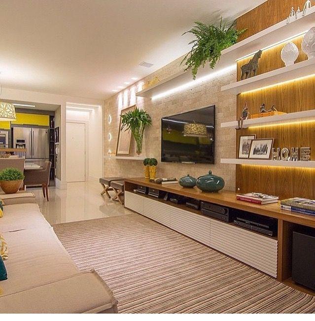 Decora o painel e rack para sala de tv artes da for Sala de estar luxuosa