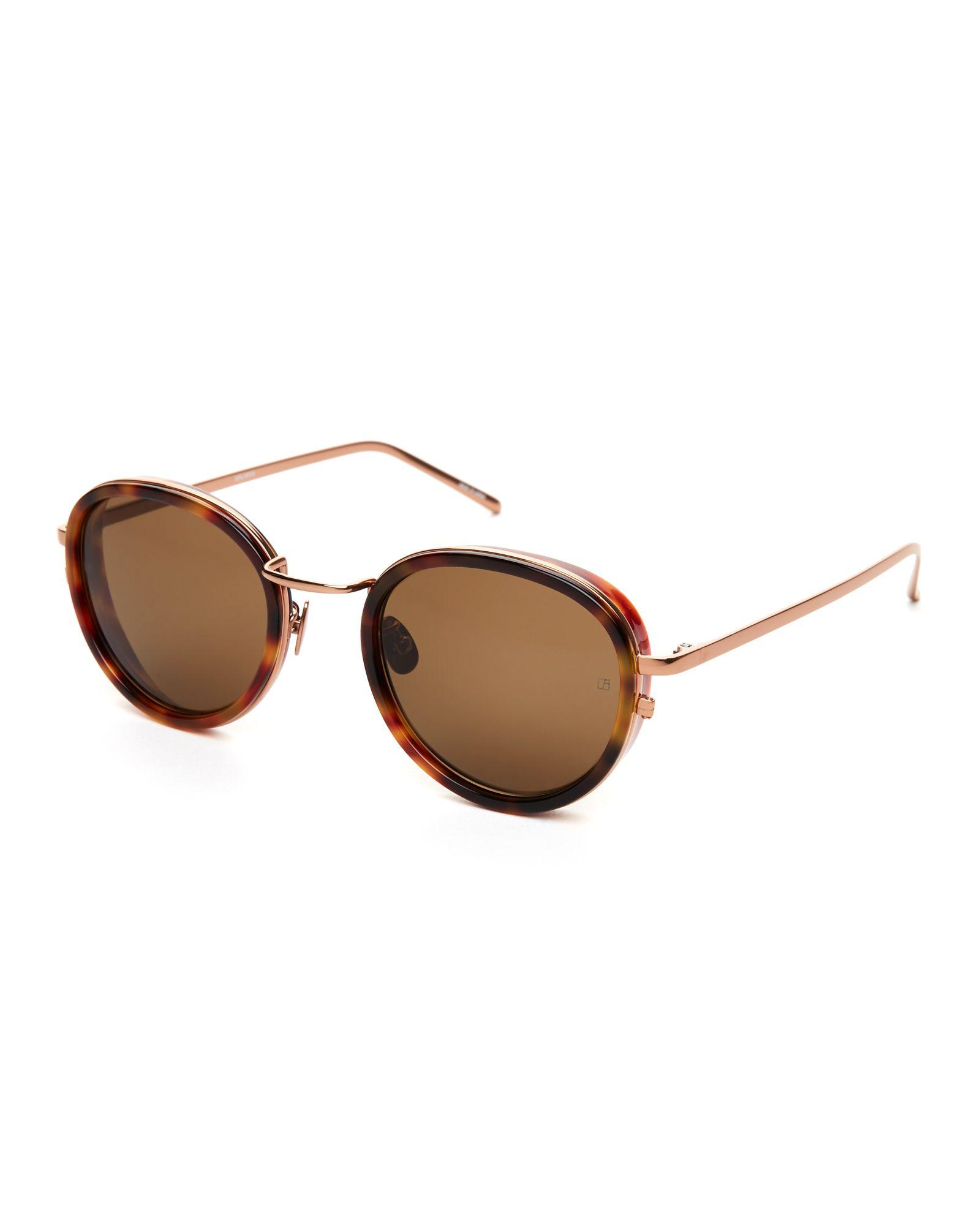 1df7305a3b Linda Farrow LFL 387 5 Tortoiseshell-Look Round Sunglasses ...