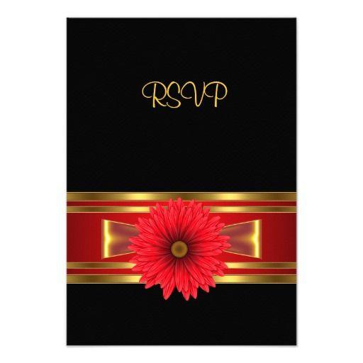 rsvp birthday black red flower gold red bow  zazzle
