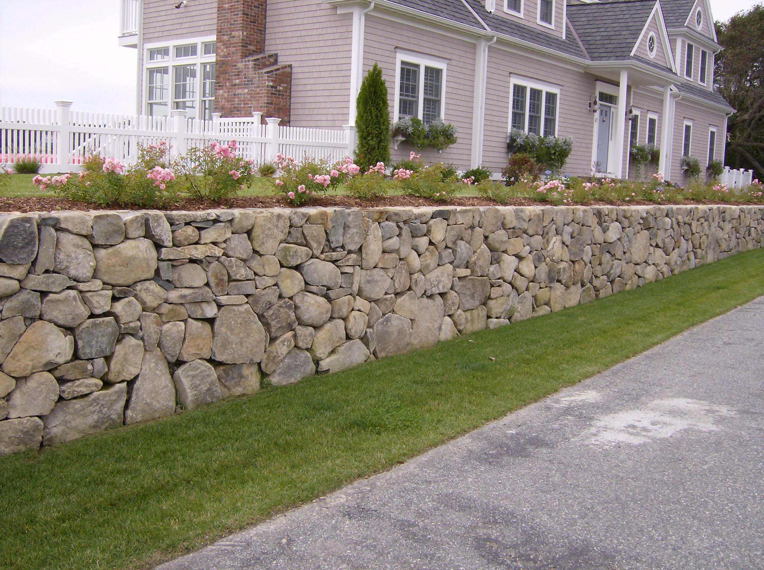 Traditional Stone Wall Earthandstonecapecod Com Landscaping