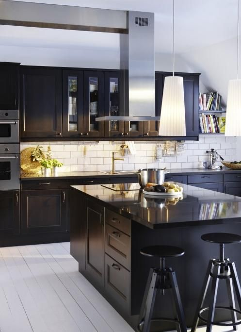 Subway tile with dark cabinets