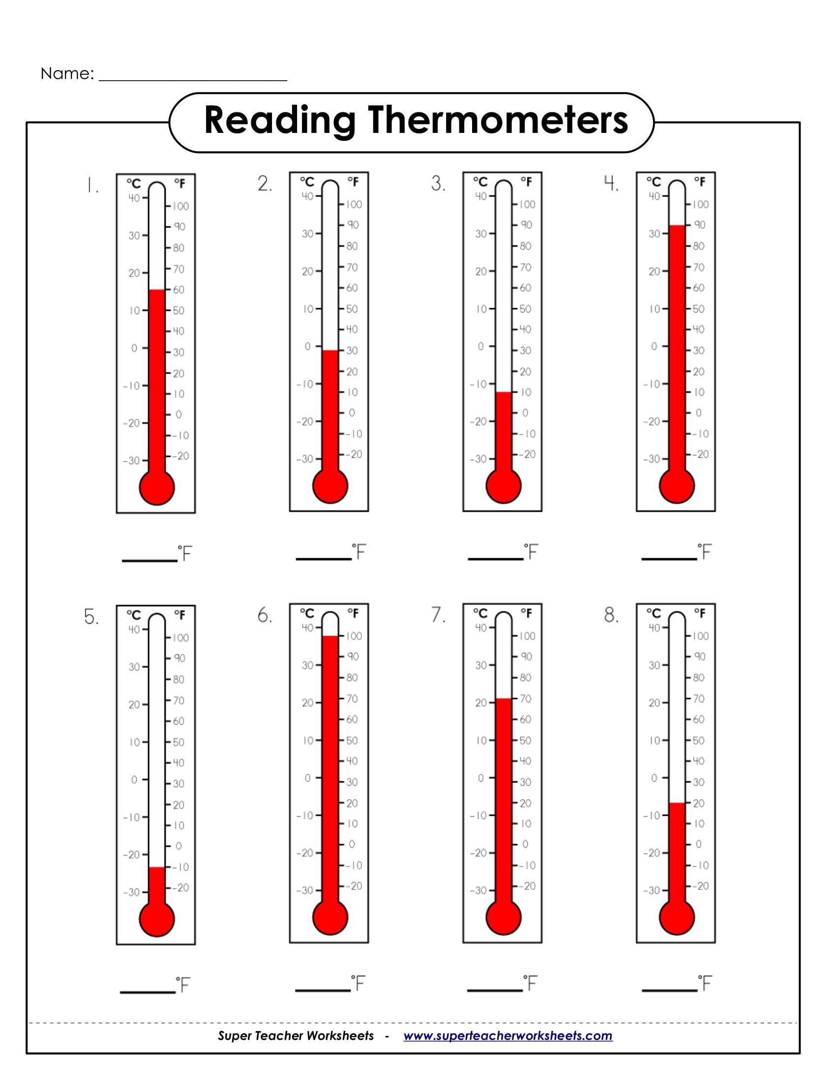 Read A Thermometer Worksheet 9 Math Worksheets For
