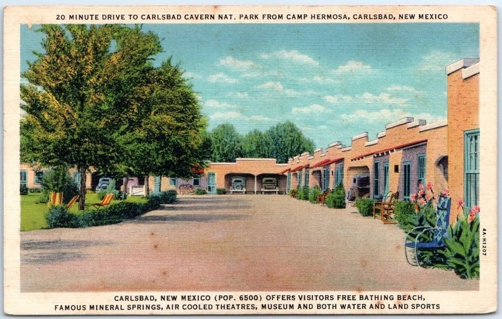 Carlsbad New Mexico Postcard Camp Hermosa Motel Apartment Bldg Curteich Linen New Mexico Carlsbad Carlsbad Caverns