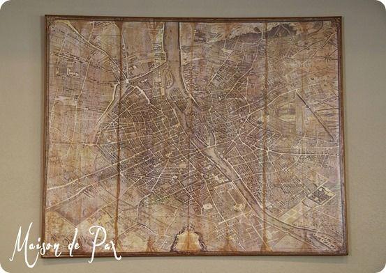Decoupage Vintage Map Of Paris A Restoration Hardware Knock Off - Restoration hardware paris map