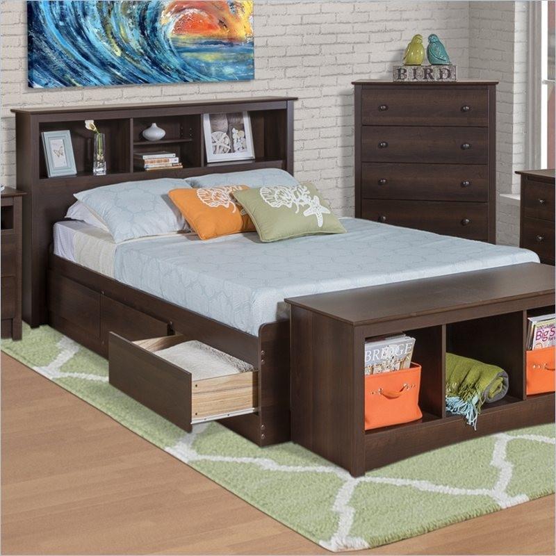 Twin Xl Espresso Brown Platform Bed With Headboard Storage