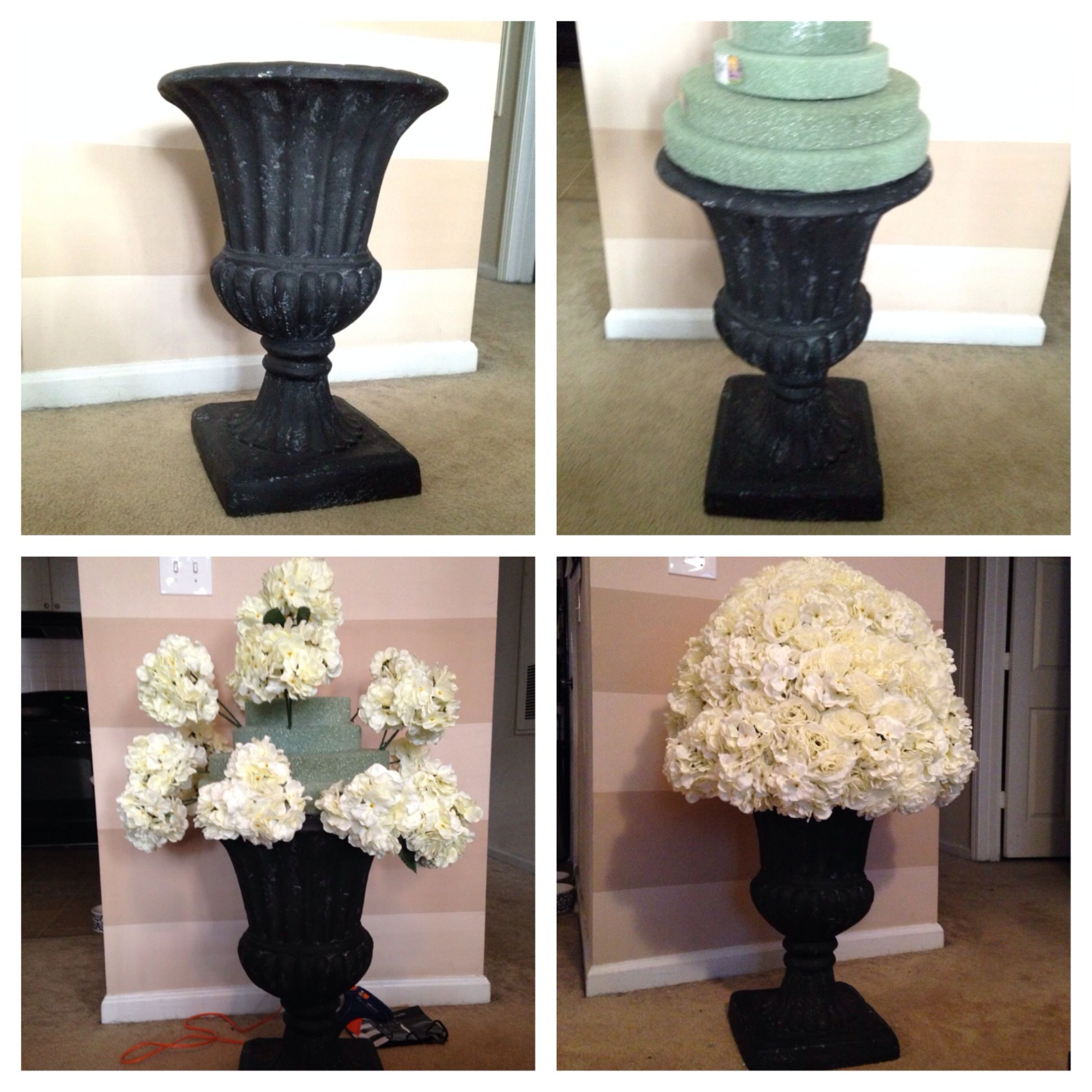 Floral Urns For Weddings: DIY: Urn, Fake Wedding Flowers, Garden Urn, DIY Aisle