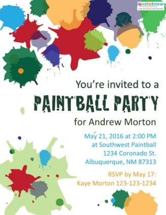 image about Free Printable Paint Party Invitations titled Cost-free Printable Paintball Get together Invites Ian Occasion
