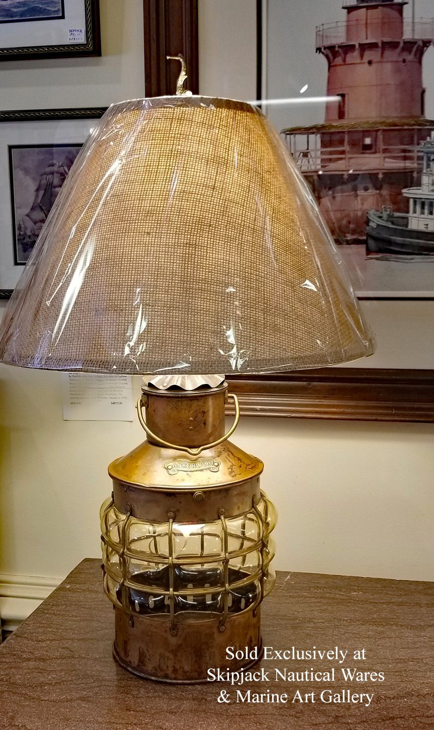 A Vintage Den Haan Rotterdam Copper Anchor Lantern That We Have Repurposed Into A Table Lamp The Lantern Features An Oxidized A Nautical Lamps Lamp Table Lamp