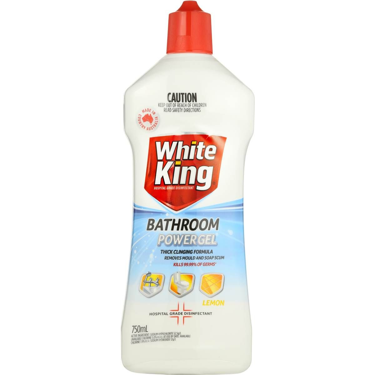 White King Bathroom Power Gel Lemon 750ml White King Lemon