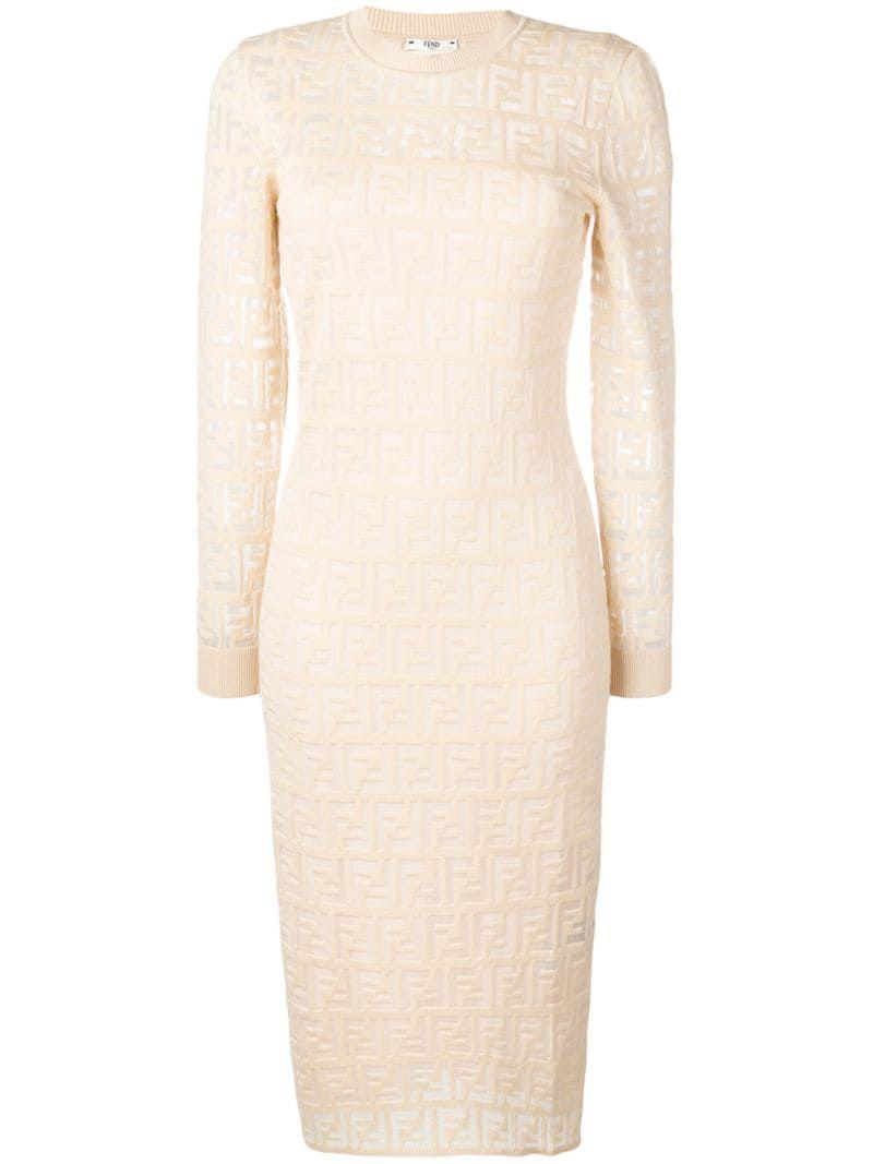 Fendi Ff Motif Knitted Dress Farfetch Knit Dress Dresses Fashion [ 1067 x 800 Pixel ]