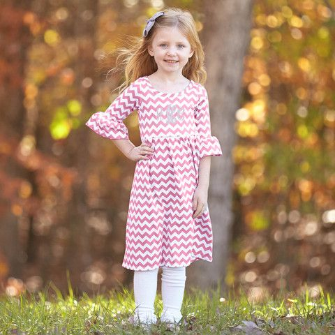Girls Pink Chevron Knit Liv Dress