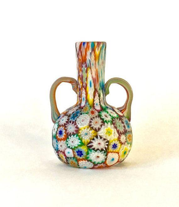 Vintage Murano Millefiori Vase Hand Blown Fratelli Toso Vase With