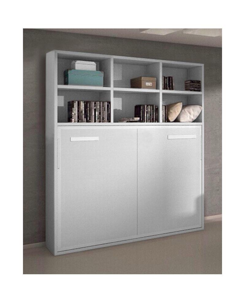 armoire lit escamotable horizontale 140 x 190 et tag res pieds retournement automatique joy. Black Bedroom Furniture Sets. Home Design Ideas