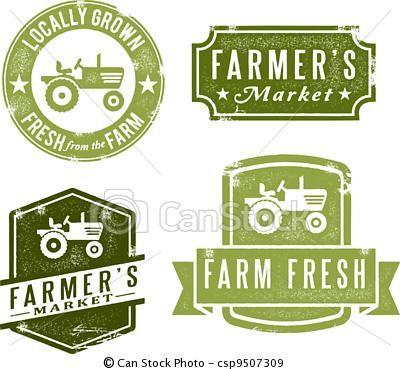 Vector - Vintage Fresh Farmers Market Stamps - stock illustration ...