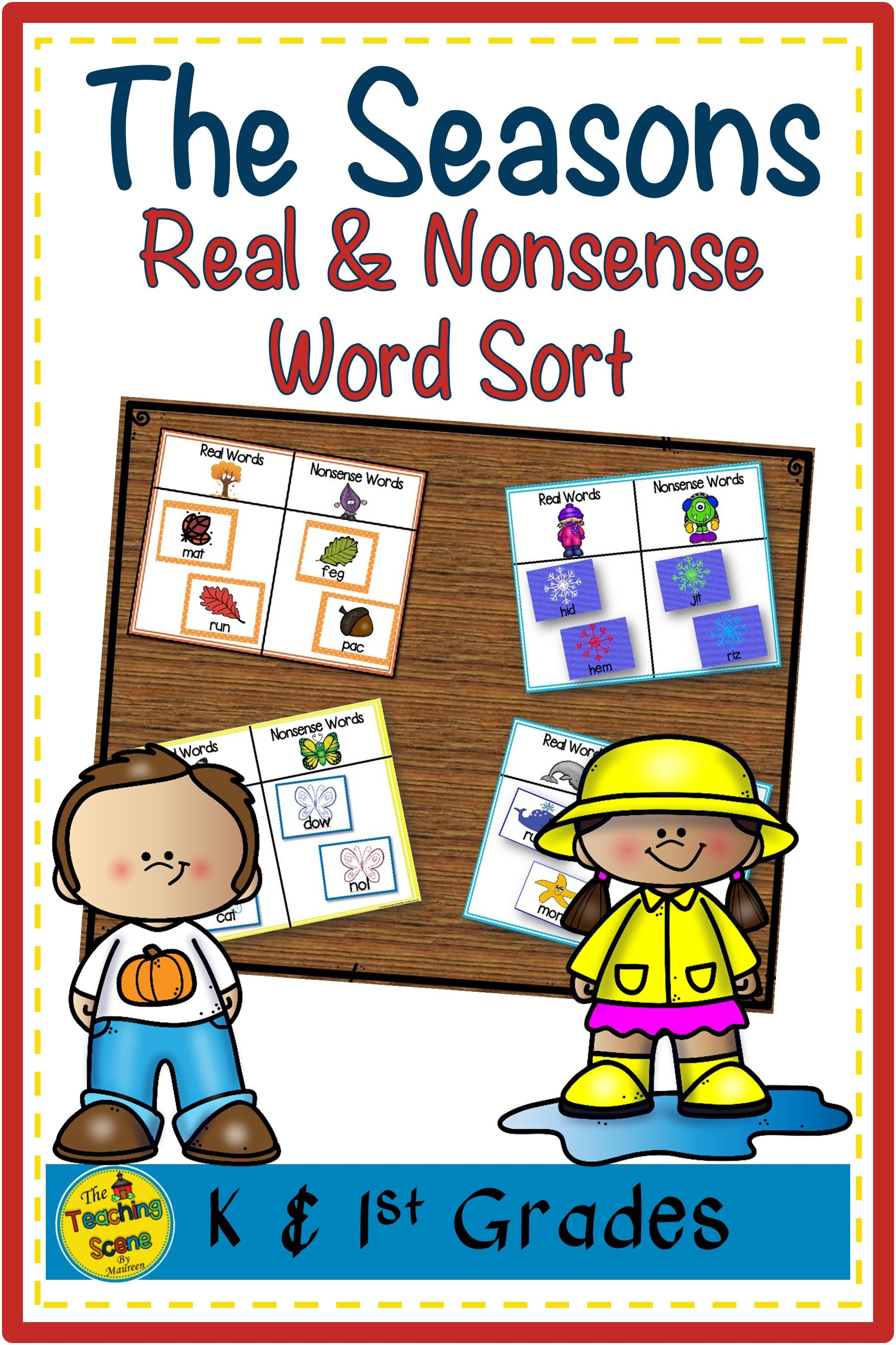 The Season Real Amp Nonsense Word Sort Games Four Center