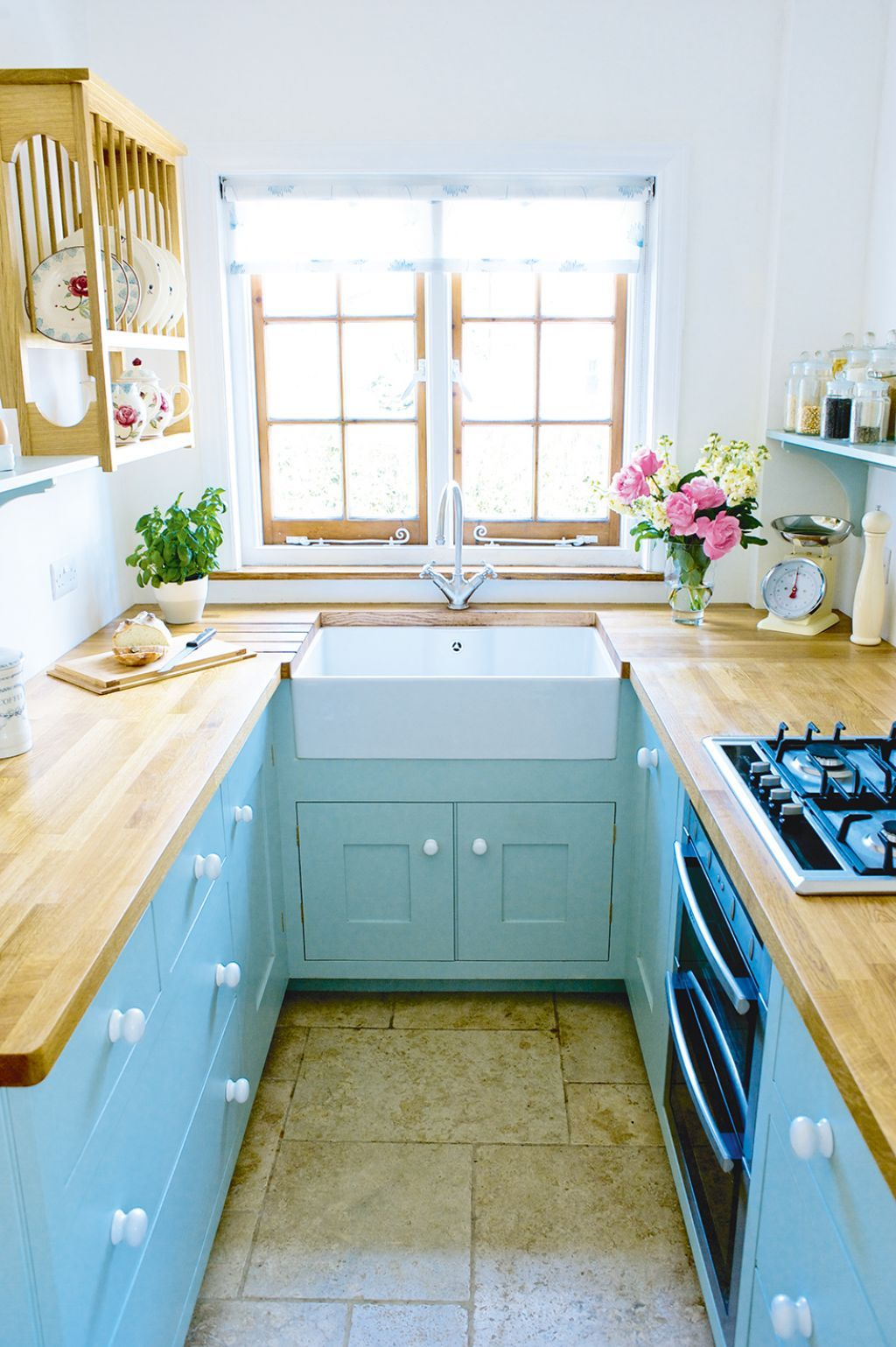 Galley Kitchen With Apron Sink And Blue Cabinets | Ideas for the ...