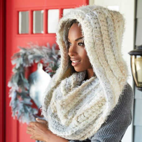 Keep warm with this lovely hooded cowl that\'s perfect for winter ...