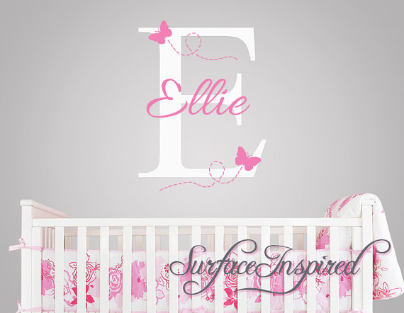 Ellie With Flying Erfles Name Wall Decal For Baby Nursery