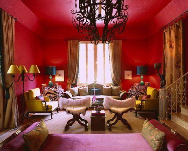 red paint color ideas gold accents living room ideas classic style interior - Red And Gold Interior Design