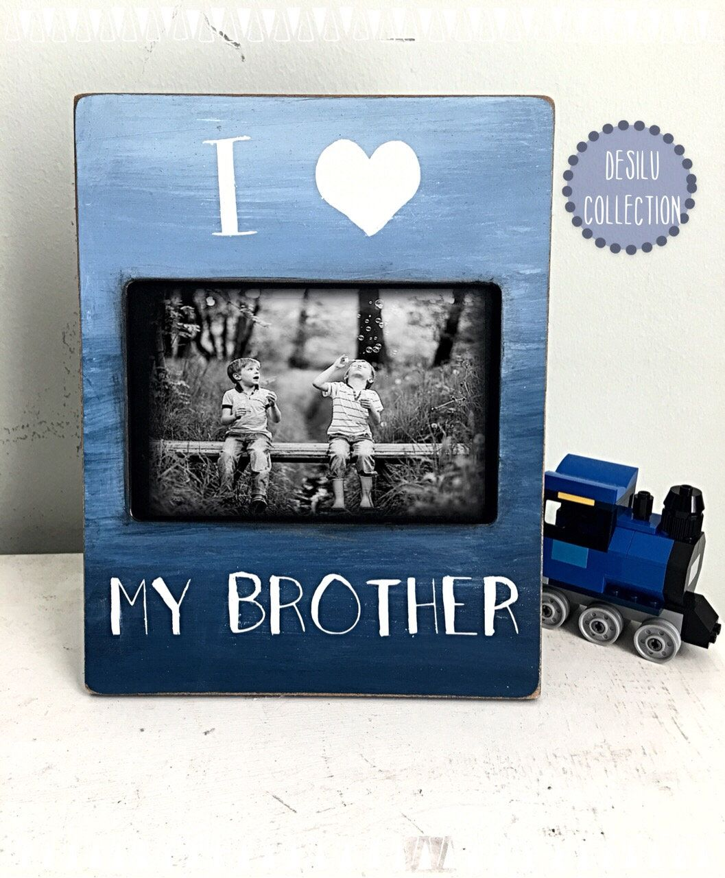 Brother picture frame, I love my brother, blue ombré picture frame ...
