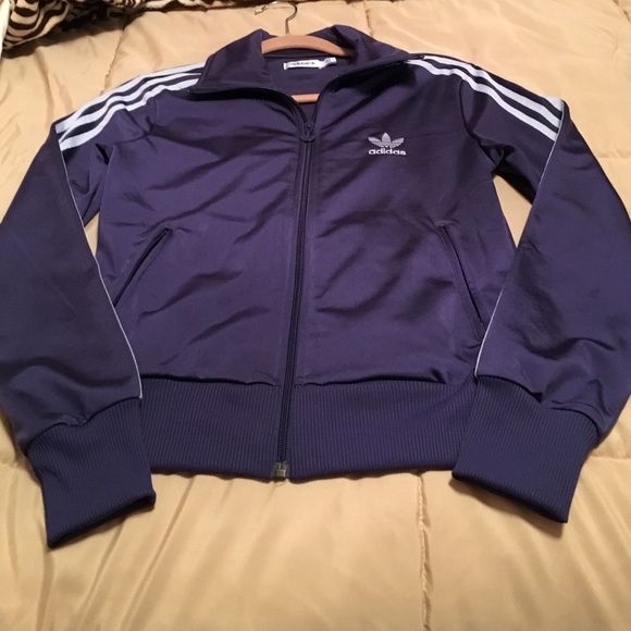 acbe555a3304 Purple Adidas firebird poly track jacket zip up Purple Adidas zip up track  jacket. Light purple stripes down the sleeves
